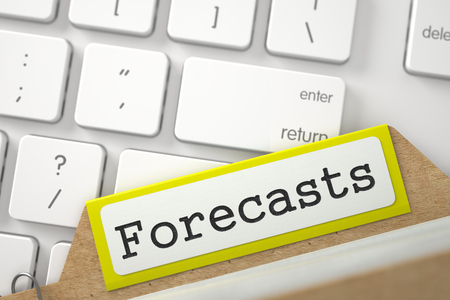 forecasts: Forecasts Concept. Word on Yellow Folder Register of Card Index. Close Up View. Selective Focus. 3D Rendering.