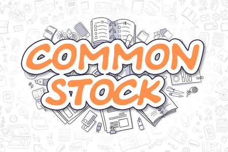 market bottom: Common Stock - Hand Drawn Business Illustration with Business Doodles. Orange Text - Common Stock - Doodle Business Concept. Stock Photo