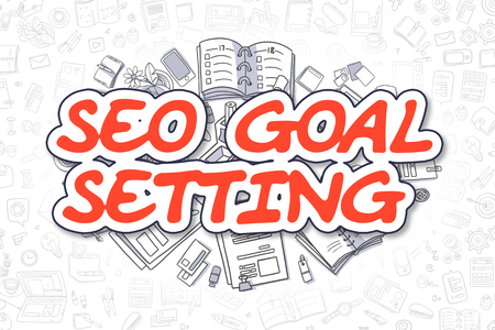 goal setting: Cartoon Illustration of SEO Goal Setting, Surrounded by Stationery. Business Concept for Web Banners, Printed Materials.
