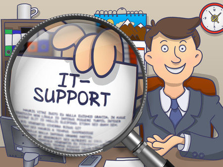 it support: IT- Support on Paper in Mans Hand to Illustrate a Business Concept. Closeup View through Magnifying Glass. Multicolor Modern Line Illustration in Doodle Style.