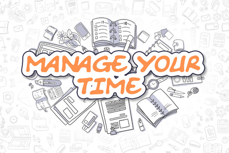 optimum: Business Illustration of Manage Your Time. Doodle Orange Word Hand Drawn Doodle Design Elements. Manage Your Time Concept.