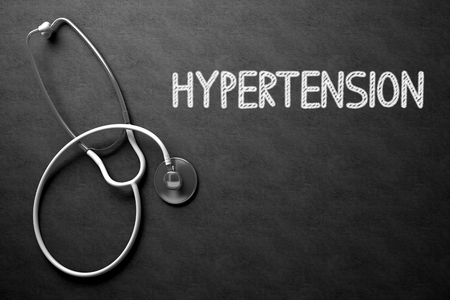 malaise: Medical Concept: Hypertension -  Black Chalkboard with Hand Drawn Text and White Stethoscope. Top View. Medical Concept: Hypertension - Text on Black Chalkboard with White Stethoscope. 3D Rendering.