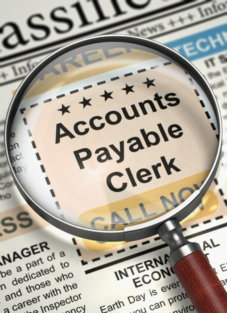 payable: Illustration of Small Advertising of Accounts Payable Clerk in Newspaper with Loupe. Newspaper with Jobs Accounts Payable Clerk. Concept of Recruitment. Blurred Image with Selective focus. 3D Render. Stock Photo
