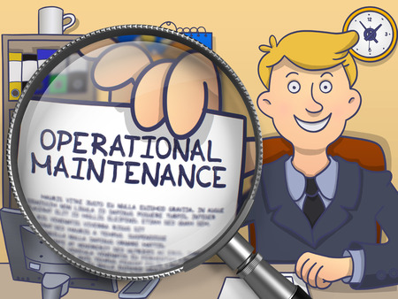 operational: Business Man in Suit Looking at Camera and Showing a Paper with Text Operational Maintenance Concept through Magnifier. Closeup View. Multicolor Doodle Illustration. Stock Photo