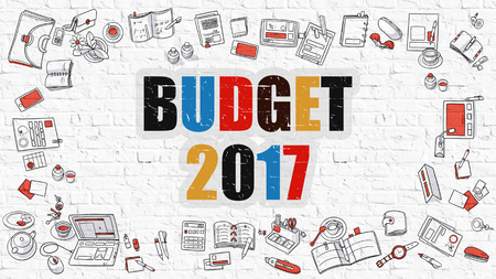 marginal: Budget 2017 - Multicolor Concept with Doodle Icons Around on White Brick Wall Background. Modern Illustration with Elements of Doodle Design Style.
