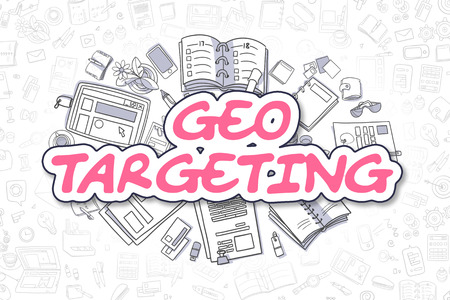 ip address: Geo Targeting - Sketch Business Illustration. Magenta Hand Drawn Text Geo Targeting Surrounded by Stationery. Cartoon Design Elements.