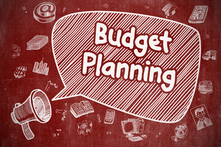 marginal: Business Concept. Megaphone with Wording Budget Planning. Cartoon Illustration on Red Chalkboard. Budget Planning on Speech Bubble. Doodle Illustration of Shouting Bullhorn. Advertising Concept.