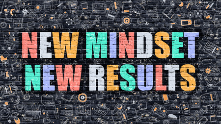 mindset: New Mindset New Results Concept. Modern Illustration. Multicolor New Mindset New Results Drawn on Dark Brick Wall. Doodle Icons. Doodle Style of New Mindset New Results Concept. Stock Photo