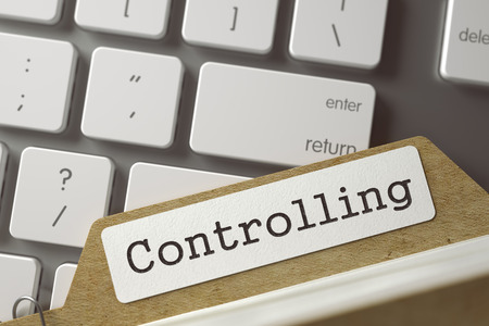 controlling: Controlling. Card File on Background of White PC Keypad. Archive Concept. Closeup View. Selective Focus. Toned Image. 3D Rendering.