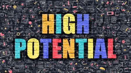 potential: High Potential Concept. High Potential Drawn on Dark Wall. High Potential in Multicolor. High Potential Concept. Modern Illustration in Doodle Design of High Potential. Stock Photo