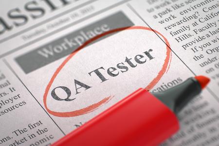 control de calidad: Periódico con avisos clasificados de contratación de QA Tester. Imagen borrosa con enfoque selectivo. Búsqueda de empleo Concept. 3D. Foto de archivo