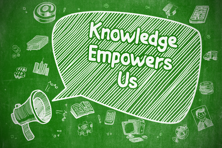 know how: Speech Bubble with Inscription Knowledge Empowers Us Hand Drawn. Illustration on Green Chalkboard. Advertising Concept.
