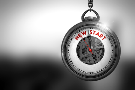 new start: Vintage Pocket Watch with New Start Text on the Face. New Start Close Up of Red Text on the Watch Face. 3D Rendering.