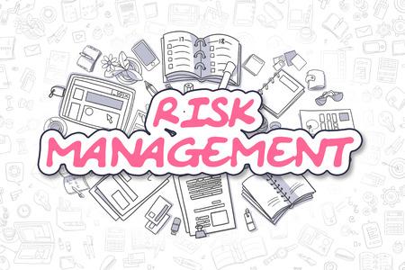 minimization: Business Illustration of Risk Management. Doodle Magenta Word Hand Drawn Doodle Design Elements. Risk Management Concept.