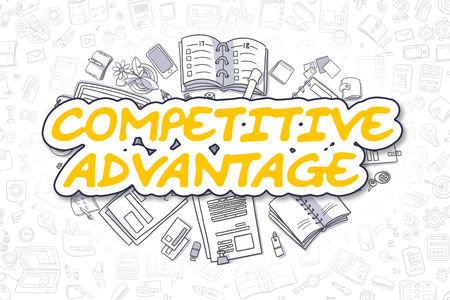 adversary: Competitive Advantage Doodle Illustration of Yellow Text and Stationery Surrounded by Doodle Icons. Business Concept for Web Banners and Printed Materials.