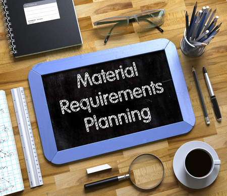 simultaneously: Material Requirements Planning on Small Chalkboard. Material Requirements Planning - Text on Small Chalkboard. 3d Rendering.