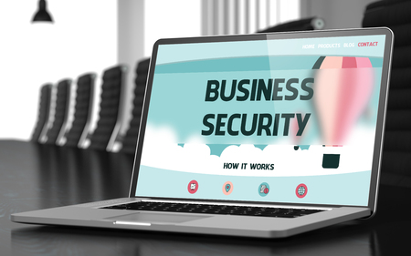 stocktaking: Business Security on Landing Page of Mobile Computer Screen in Modern Meeting Hall Closeup View. Toned. Blurred Image. 3D Illustration. Stock Photo