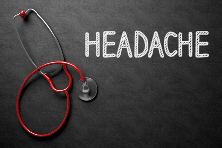 overstress: Medical Concept: Headache on Black Chalkboard. Black Chalkboard with Headache - Medical Concept. 3D Rendering. Stock Photo