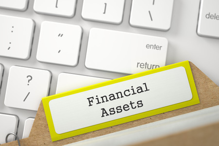 financial assets: Yellow Sort Index Card with Financial Assets Concept on Background of White Modern Keypad. Close Up View. Selective Focus. 3D Rendering.