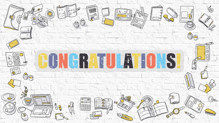 laud: Congratulations. Multicolor Inscription on White Brick Wall with Doodle Icons Around. Modern Style Illustration with Doodle Design Icons. Congratulations on White Brickwall Background.
