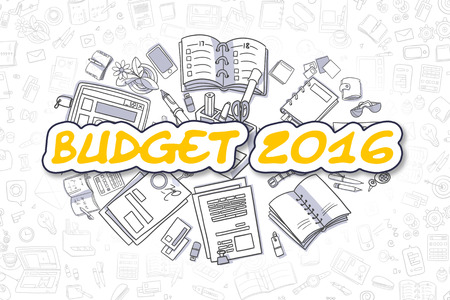 marginal: Cartoon Illustration of Budget 2016, Surrounded by Stationery. Business Concept for Web Banners, Printed Materials.