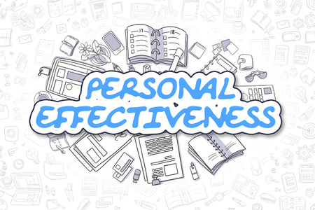 effectiveness: Cartoon Illustration of Personal Effectiveness, Surrounded by Stationery. Business Concept for Web Banners, Printed Materials. Stock Photo