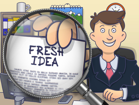 fresh idea: Businessman Shows Concept on Paper Fresh Idea. Closeup View through Magnifying Glass. Colored Modern Line Illustration in Doodle Style.