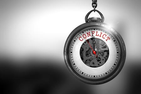 Concepto de negocio: Conflicto en el reloj de bolsillo de la vendimia con la cara Primer plano de reloj Mecanismo. Efecto de la vendimia. Conflicto de primer plano del texto rojo en la cara del reloj de bolsillo. Representación 3D.