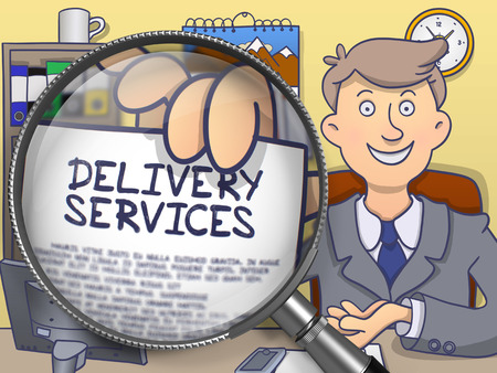 consignment: Business Man in Suit Looking at Camera and Holding a Paper with Text Delivery Services Concept through Magnifying Glass. Closeup View. Multicolor Doodle Style Illustration.