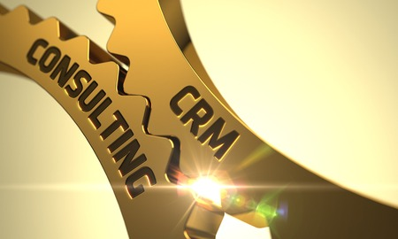 CRM Consulting on the Mechanism of Golden Metallic Cog Gears with Lens Flare. 3D Render.