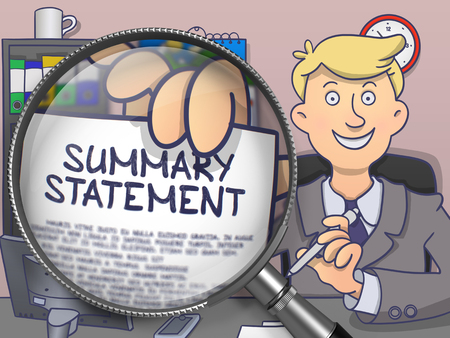 summary: Summary Statement. Officeman Holding a Paper with Inscription through Lens. Multicolor Doodle Illustration. Stock Photo