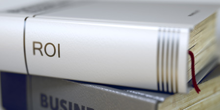 coefficient: Business - Book Title. Roi. Stack of Books Closeup and one with Title - Roi. Roi - Book Title. Business Concept: Closed Book with Title Roi in Stack, Closeup View. Blurred. 3D.