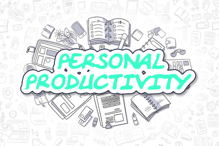 erudition: Green Word - Personal Productivity. Business Concept with Cartoon Icons. Personal Productivity - Hand Drawn Illustration for Web Banners and Printed Materials.