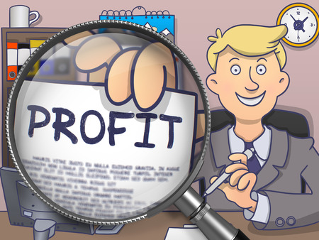 avail: Businessman in Office Workplace Shows Paper with Inscription Profit. Closeup View through Magnifier. Multicolor Modern Line Illustration in Doodle Style.