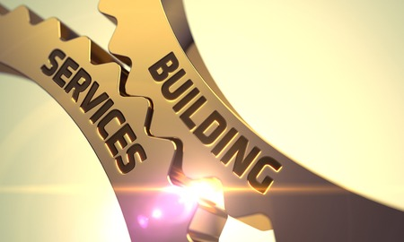 public sector: Building Services on the Golden Metallic Cog Gears. 3D. Stock Photo