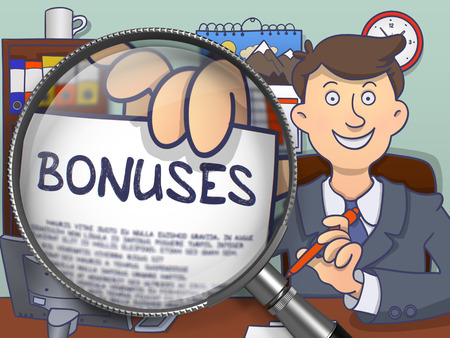 Bonuses. Stylish Business Man in Office Shows Paper with Concept through Magnifier. Multicolor Modern Line Illustration in Doodle Style. Stock Photo