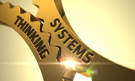 systems thinking: Systems Thinking on Mechanism of Golden Metallic Gears with Lens Flare. 3D. Stock Photo
