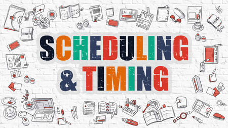 scheduling: Scheduling and Timing Concept. Scheduling and Timing in Multicolor. Doodle Design. Modern Style Illustration. Doodle Design Style of Scheduling and Timing. Line Style Illustration. White Brick Wall. Stock Photo