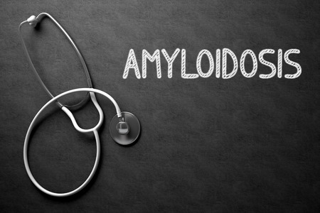 atrophy: Medical Concept: Amyloidosis - Medical Concept on Black Chalkboard. Medical Concept: Black Chalkboard with Handwritten Medical Concept - Amyloidosis with White Stethoscope. Top View. 3D Rendering.