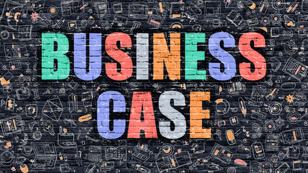 Business Case - Multicolor Concept on Dark Brick Wall Background with Doodle Icons Around. Modern Illustration with Elements of Doodle Style. Business Case on Dark Wall.