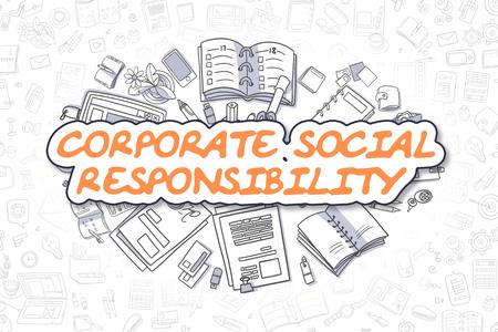 measures: Corporate Social Responsibility - Sketch Business Illustration. Orange Hand Drawn Inscription Corporate Social Responsibility Surrounded by Stationery. Doodle Design Elements. Stock Photo