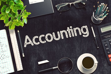 stocktaking: Accounting. Business Concept Handwritten on Black Chalkboard. Top View Composition with Chalkboard and Office Supplies. 3d Rendering. Toned Illustration.