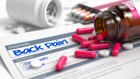 herniated: Back Pain - Handwritten Diagnosis in the Disease Extract. Medical Concept with Blister of Red Pills, CloseUp View, Selective Focus. Back Pain Wording in Anamnesis. Close View of Medicine Concept. 3D.