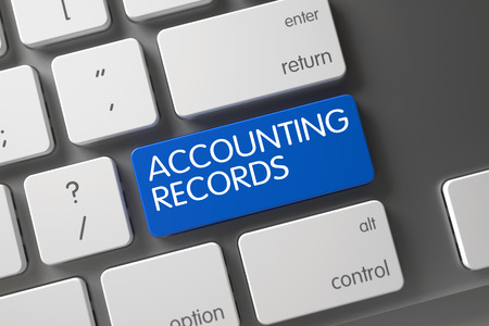 stocktaking: Concept of Accounting Records, with Accounting Records on Blue Enter Keypad on Modern Keyboard. 3D Render. Stock Photo