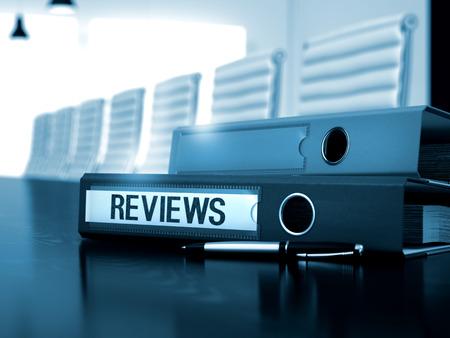 characterization: Reviews. Illustration on Blurred Background. Reviews - Business Illustration. Reviews - File Folder on Working Desktop. 3D. Stock Photo