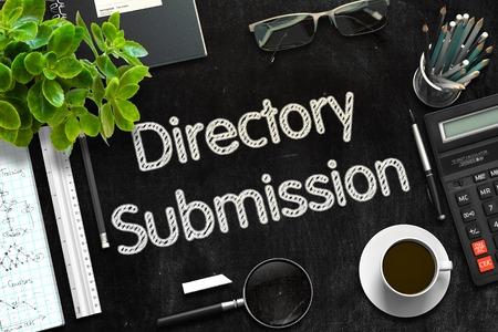Schwarze Tafel mit Directory Submission-Konzept. 3D-Rendering. Tonte Illustration.