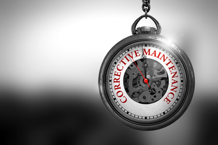 unplanned: Business Concept: Pocket Watch with Corrective Maintenance - Red Text on it Face. Vintage Pocket Watch with Corrective Maintenance Text on the Face. 3D Rendering.
