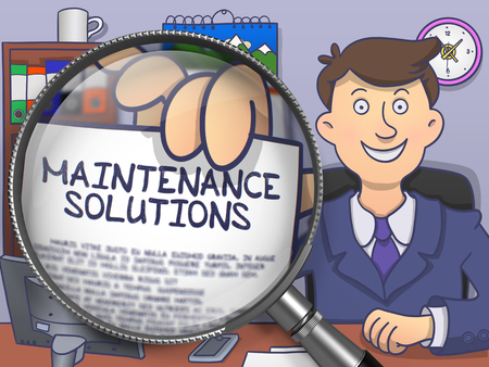 qualitatively: Businessman Holds Out a Paper with Text Maintenance Solutions. Closeup View through Magnifying Glass. Colored Doodle Illustration.