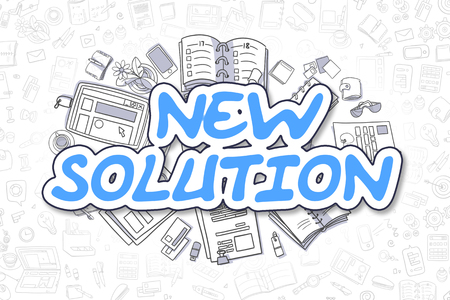 potency: New Solution Doodle Illustration of Blue Inscription and Stationery Surrounded by Doodle Icons. Business Concept for Web Banners and Printed Materials.