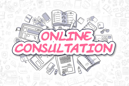 Cartoon Illustration of Online Consultation, Surrounded by Stationery. Business Concept for Web Banners, Printed Materials.